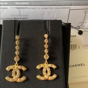 NWT Chanel 20S Midnight in Paris CC Long Earrings